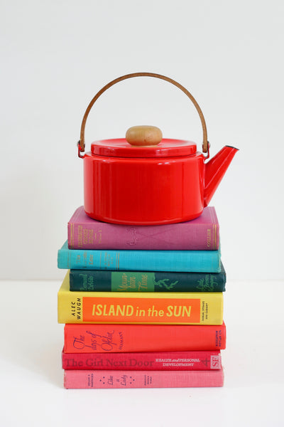 SOLD - Vintage Red Enamel Tea Kettle