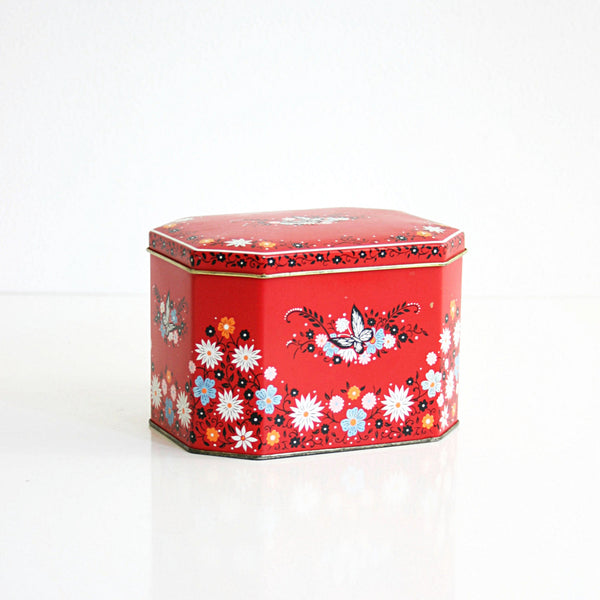 SOLD - Vintage Red Floral Daher Tin