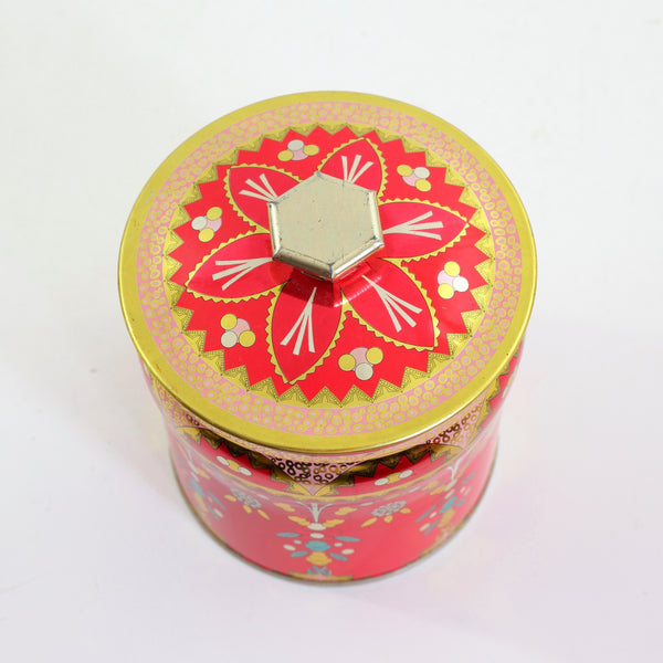 SOLD - Vintage Red Floral Tin from England