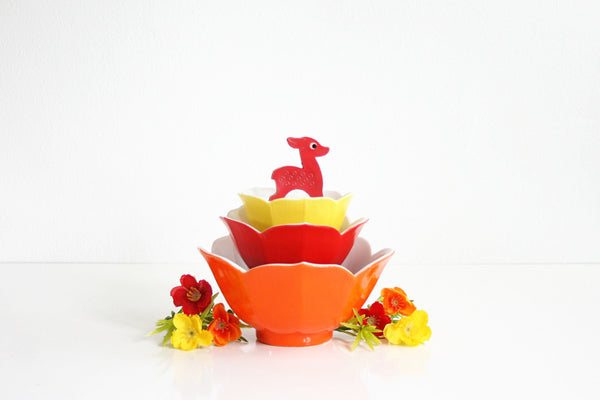 SOLD - Vintage Set of Colorful Lotus Bowls / Mid Century Porcelain Flower Bowls in Red, Orange, and Yellow