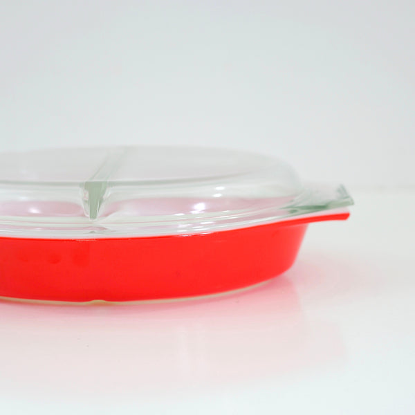 SOLD - Vintage Red Pyrex 1 Quart Divided Casserole Dish