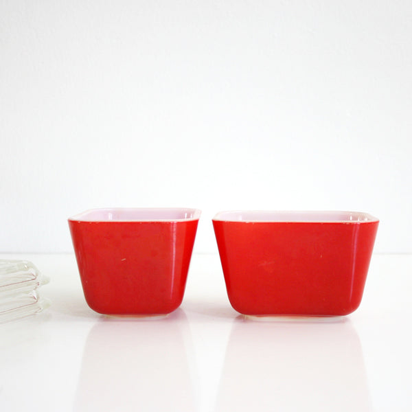 SOLD - Vintage Pair of Red Pyrex Refrigerator Dishes / Vintage Red Pyrex Space Savers