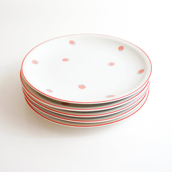 Vintage 1940s Polka Dot Plates / Red and White Polka Dot Dishes by Shirnding Bavaria