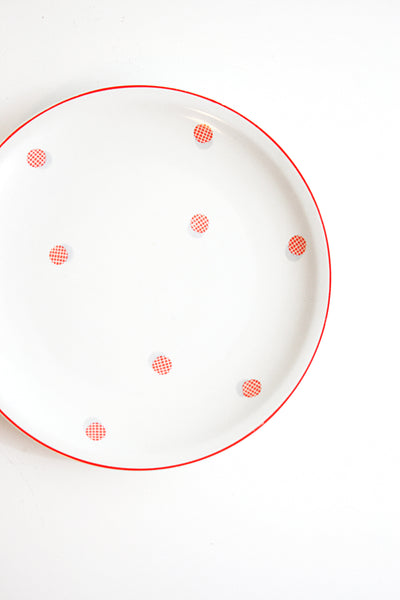 SOLD - Vintage 1940s Polka Dot Plates / Red and White Polka Dot Dishes by Shirnding Bavaria