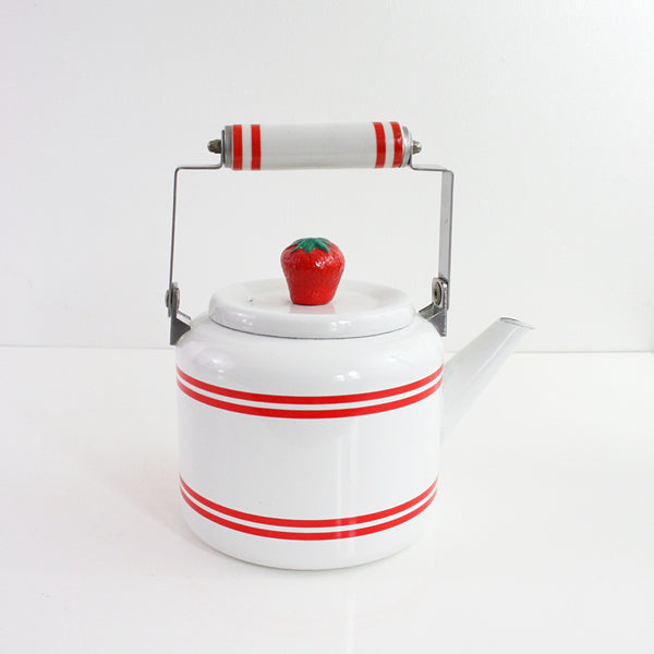 SOLD - Vintage Strawberry Enamel Tea Kettle