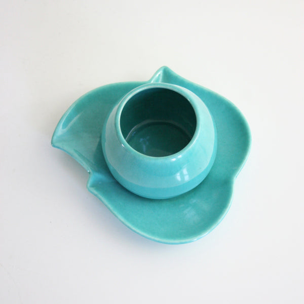 SOLD - Mid Century Modern Red Wing Pottery Planter / Aqua Leaf