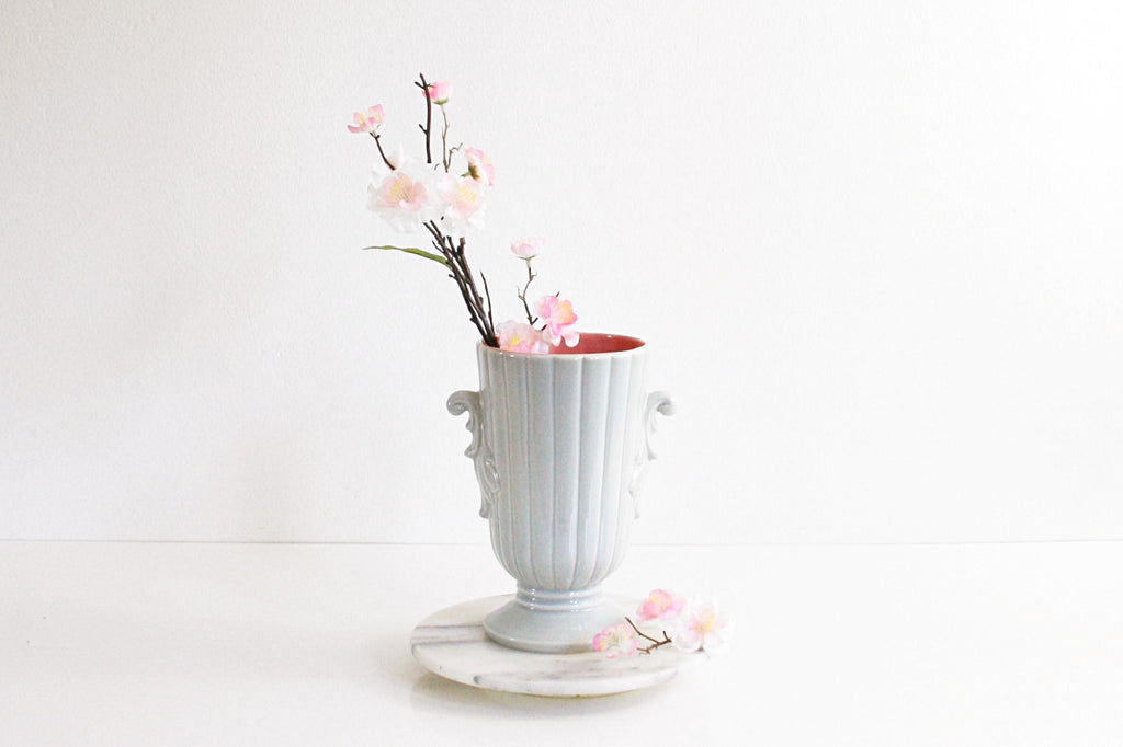 SOLD - Vintage Mid Century Red Wing Pottery Vase in Dove Gray and Pink