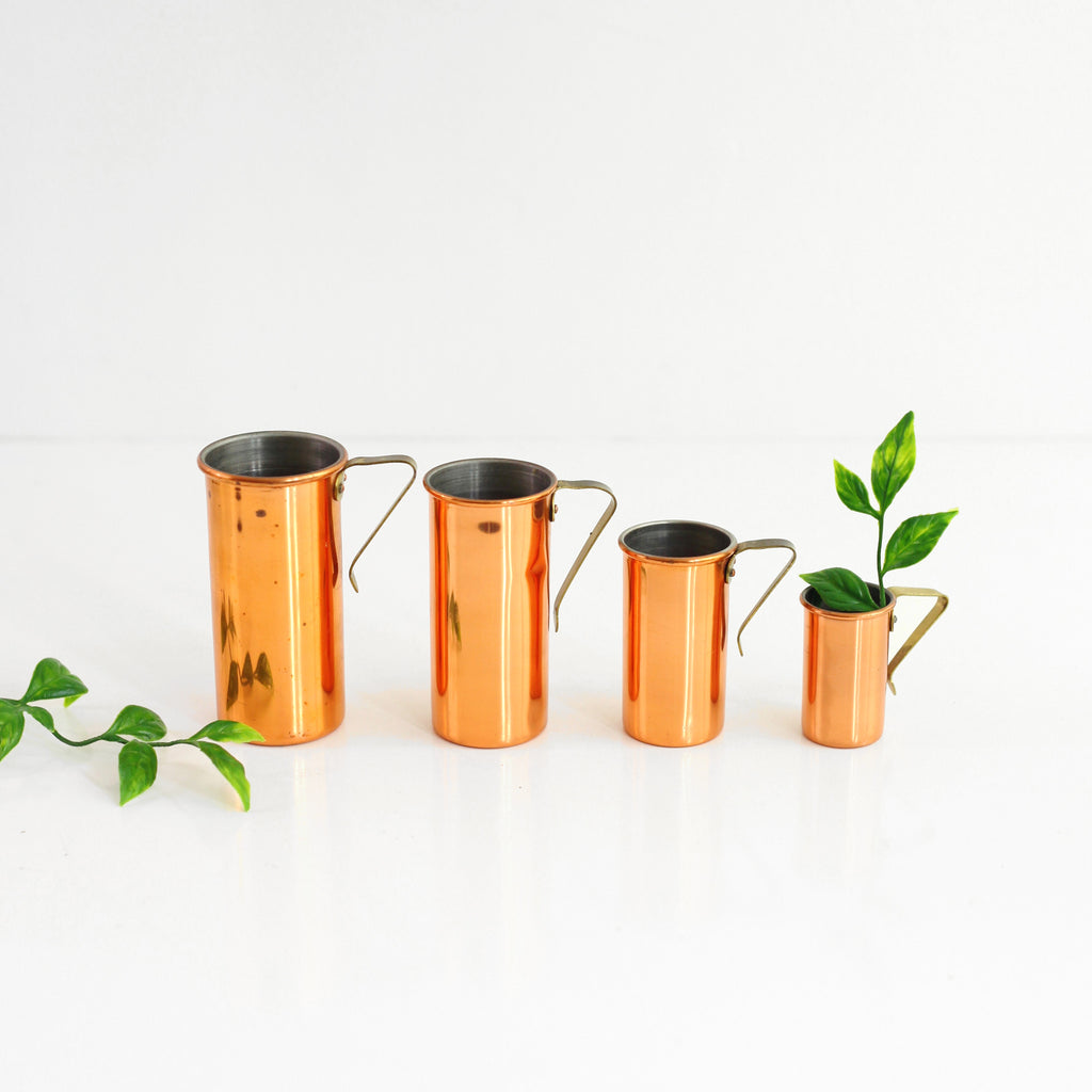 SOLD - Mid Century Copper and Brass Revere Ware Measuring Cups Set