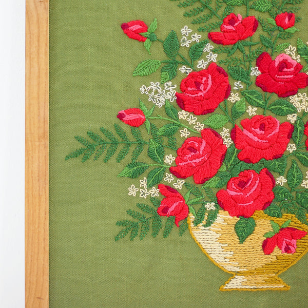 SOLD - Large Vintage Crewel Embroidery - Bouquet of Roses
