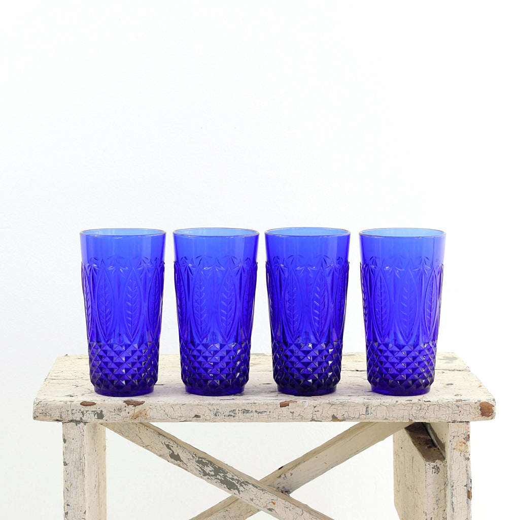 SOLD - Vintage Royal Sapphire Pressed Glass Tumblers from France