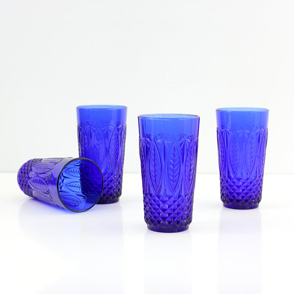 Vintage Royal Sapphire Pressed Glass Tumblers