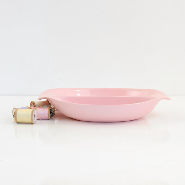 SOLD - 1950s Pink Melmac Divided Bowl by Russel Wright