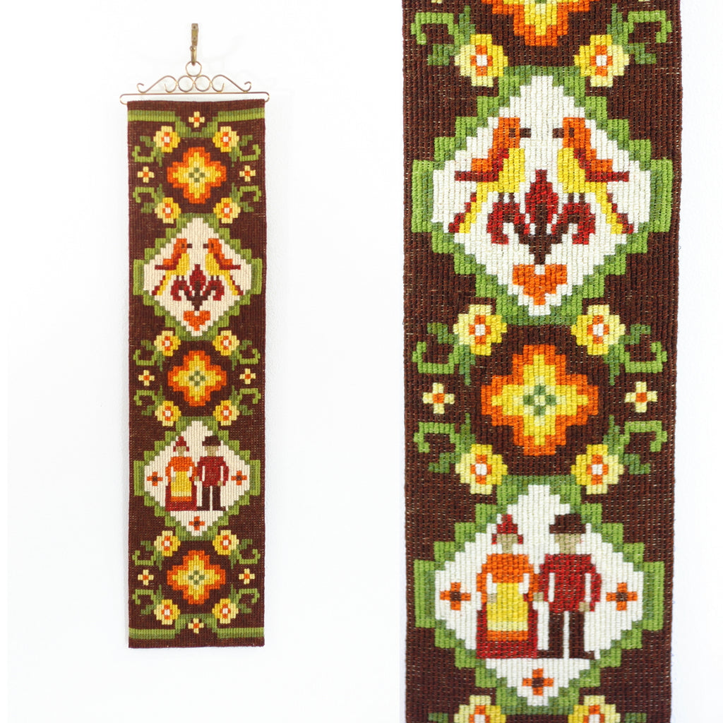 SOLD - Vintage Scandinavian Needlepoint Wall Hanging