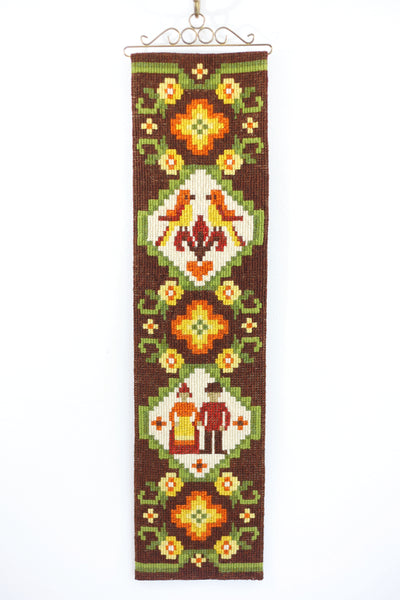 Vintage Scandinavian Needlepoint Wall Hanging