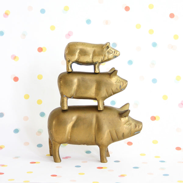 SOLD - Vintage Set of Brass Pig Figurines