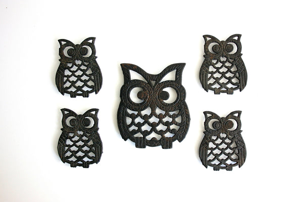 SOLD - Set of 5 Vintage Cast Iron Owl Trivets