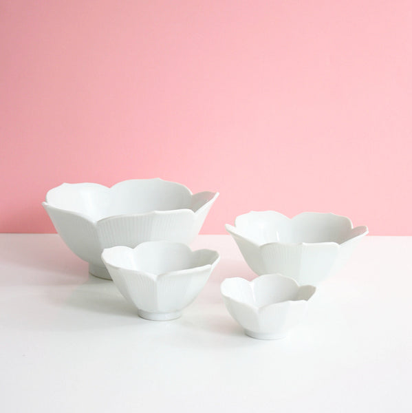 SOLD - Vintage Set of Four Nesting White Lotus Bowls / Mid Century Porcelain Flower Bowls