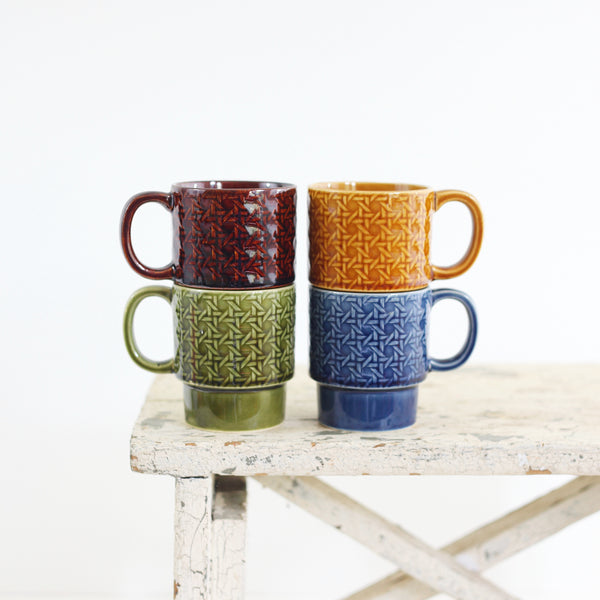 SOLD - Vintage Stoneware Stacking Mugs