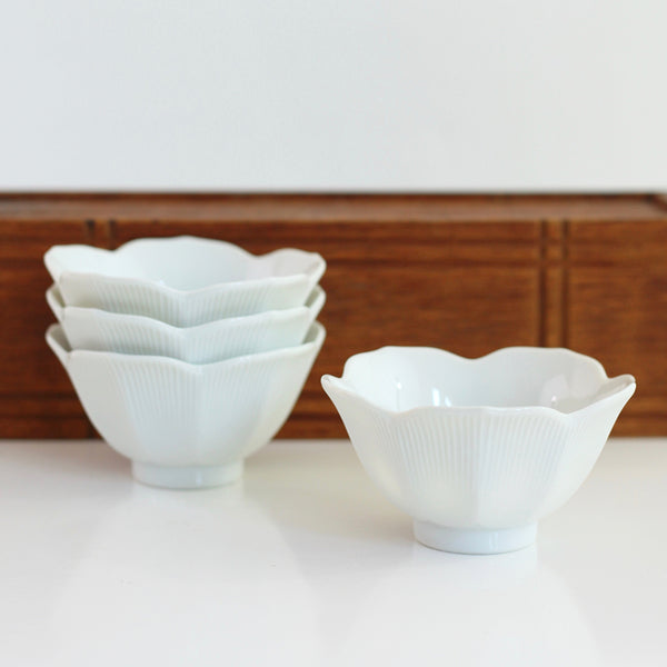 SOLD - Set of Four Vintage Porcelain Lotus Bowls