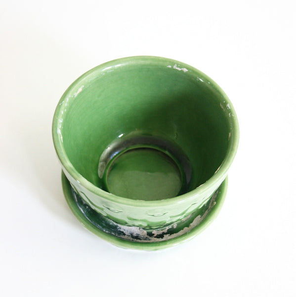 SOLD - Vintage Shawnee Quilted Daisy Planter / Mid Century Green Ceramic Flower Pot With Saucer