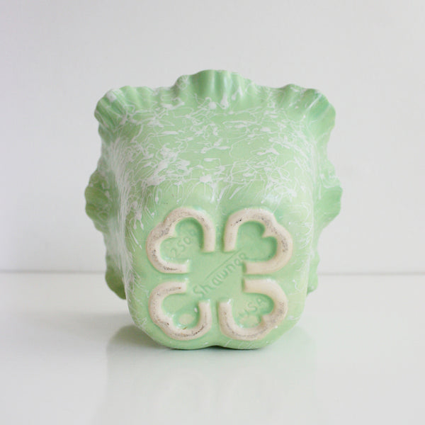 SOLD - Mid Century Modern Mint Green Splatter Glaze Cameo Planter by Shawnee