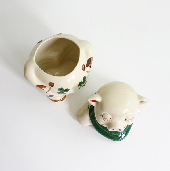 SOLD - Vintage Shawnee Shamrock Pig Cookie Jar / Antique 1940s Shawnee Smiley Pig Ceramic Canister