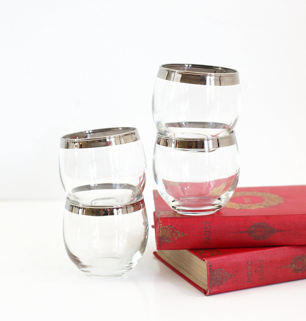 SOLD - Set of Four Silver Rimmed Roly Poly Glasses