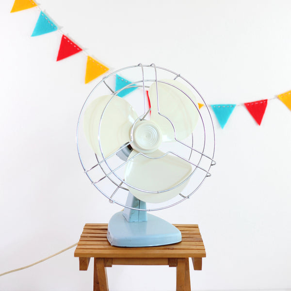 Vintage Sky Blue Electric Fan