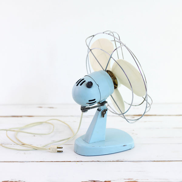 SOLD - Vintage Sky Blue Electric Fan