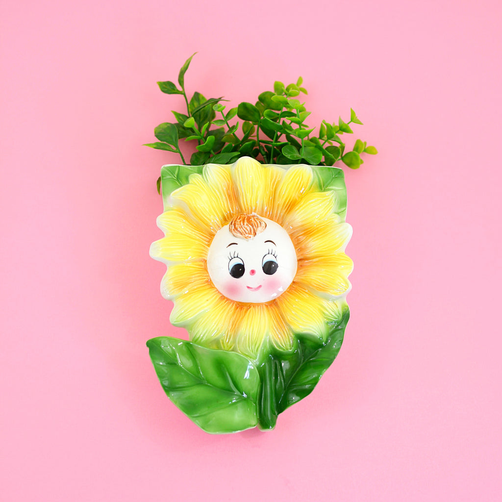 SOLD - Vintage Smiling Sunflower Wall Pocket from Japan