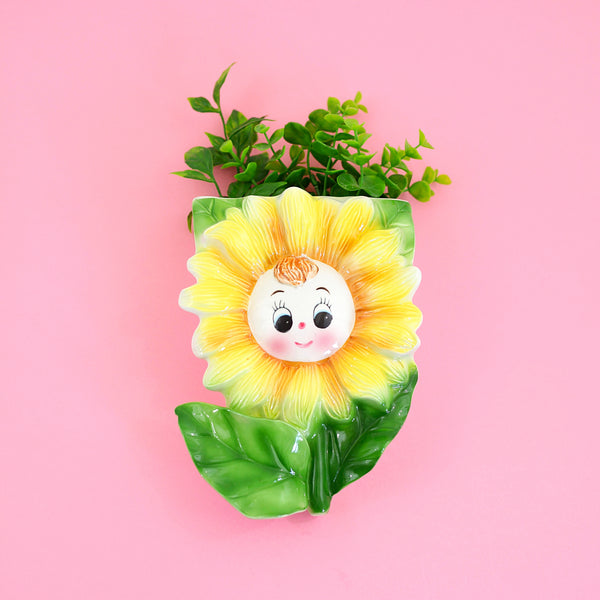 Vintage Smiling Sunflower Wall Pocket from Japan