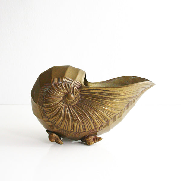SOLD - Mid Century Solid Brass Nautilus Shell Vase / Hollywood Regency Sea Shell Planter