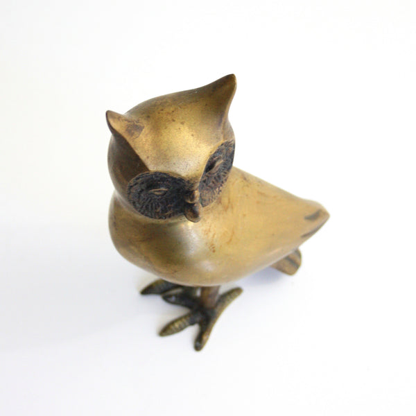SOLD - Mid Century Modern Brass Owl Figurine / Vintage Brass Owl Decor