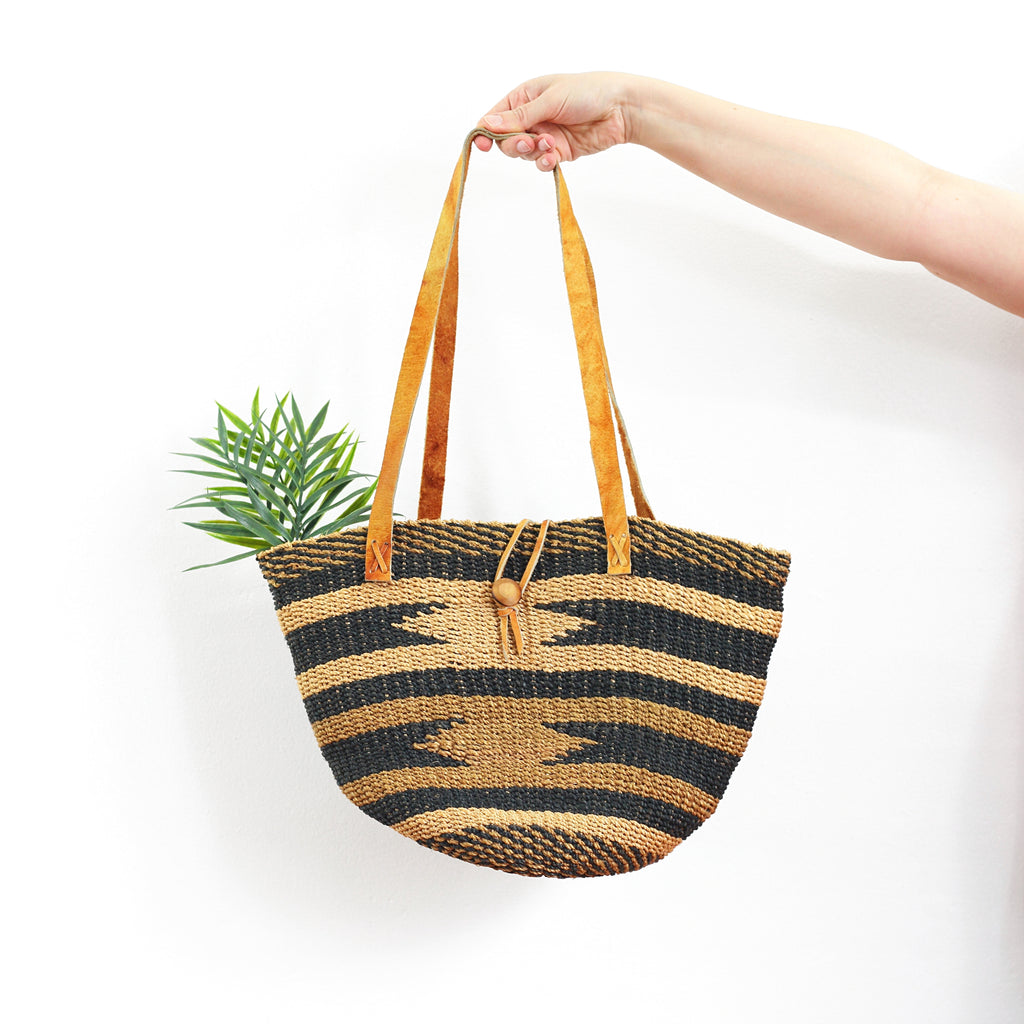 Vintage Southwestern Sisal & Leather Market Bag