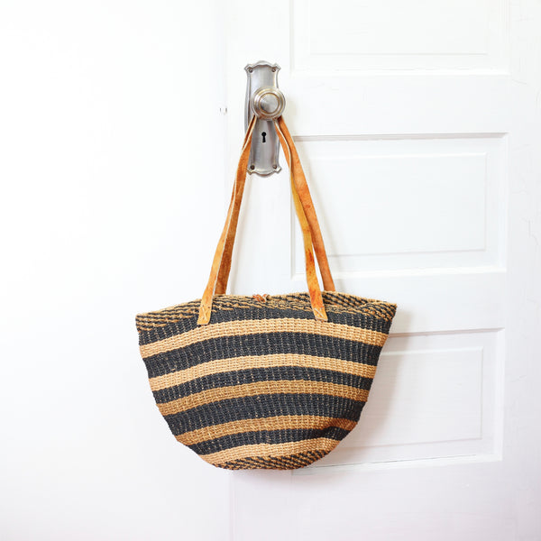 SOLD - Vintage Southwestern Sisal & Leather Market Bag