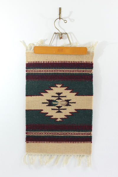 SOLD - Vintage Southwestern Handwoven Wool Mat / Wall Tapestry