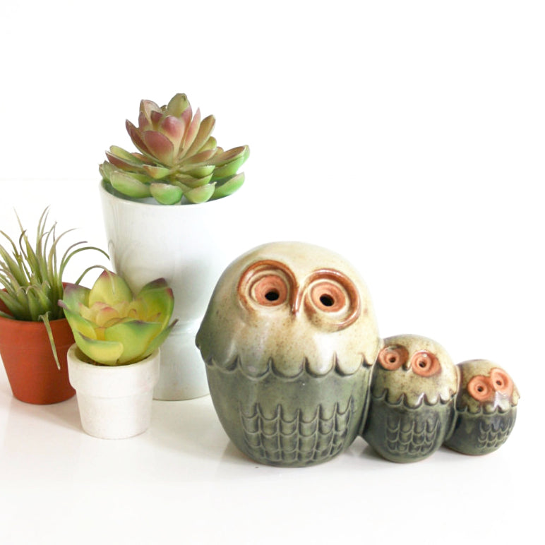 SOLD - Vintage Stoneware California Pottery Owls