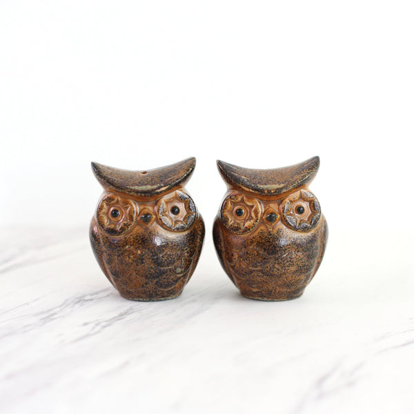 Vintage Stoneware Owl Salt and Pepper Shakers