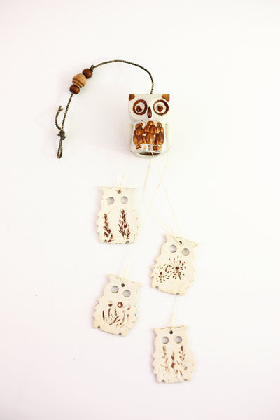 Vintage Stoneware Owl Wind Chimes