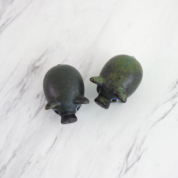 SOLD - Vintage Stoneware Pig Salt and Pepper Shakers