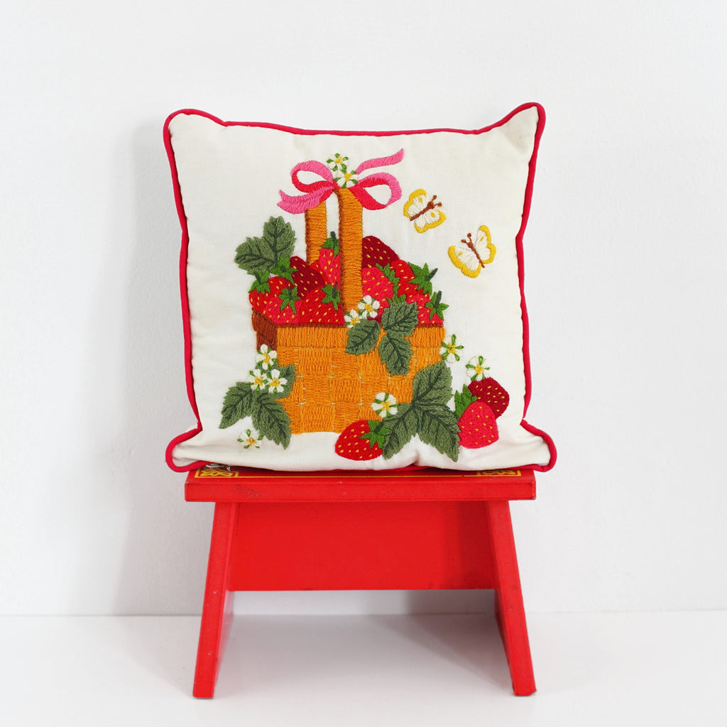 SOLD - Vintage Strawberries Crewel Embroidery Throw Pillow