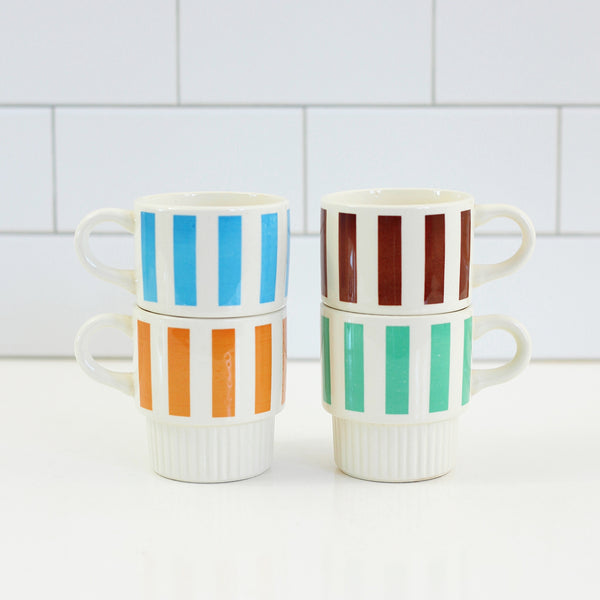 Vintage Striped Stacking Mugs Set