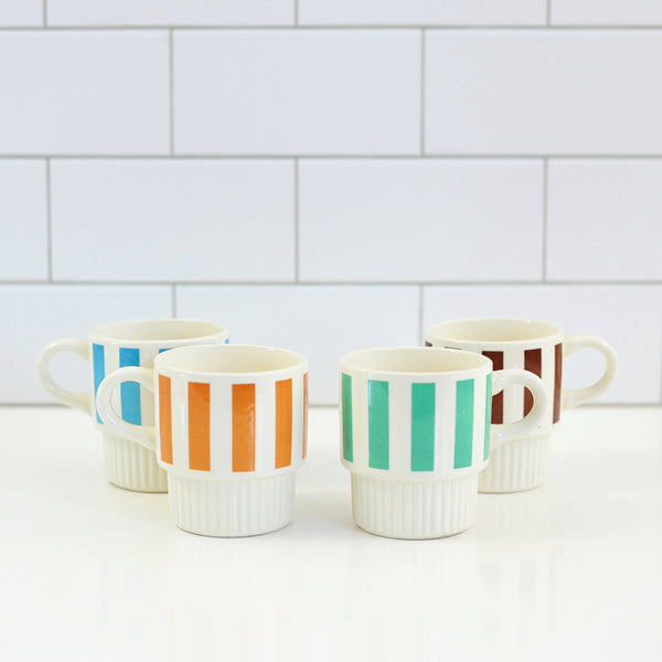 SOLD - Vintage Striped Stacking Mugs Set