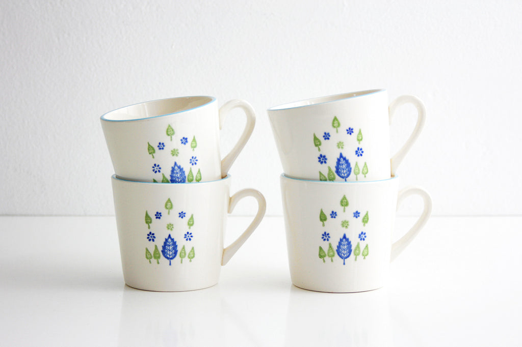 SOLD - Vintage Swiss Alpine Mugs / Mid Century Swiss Chalet Coffee Mugs