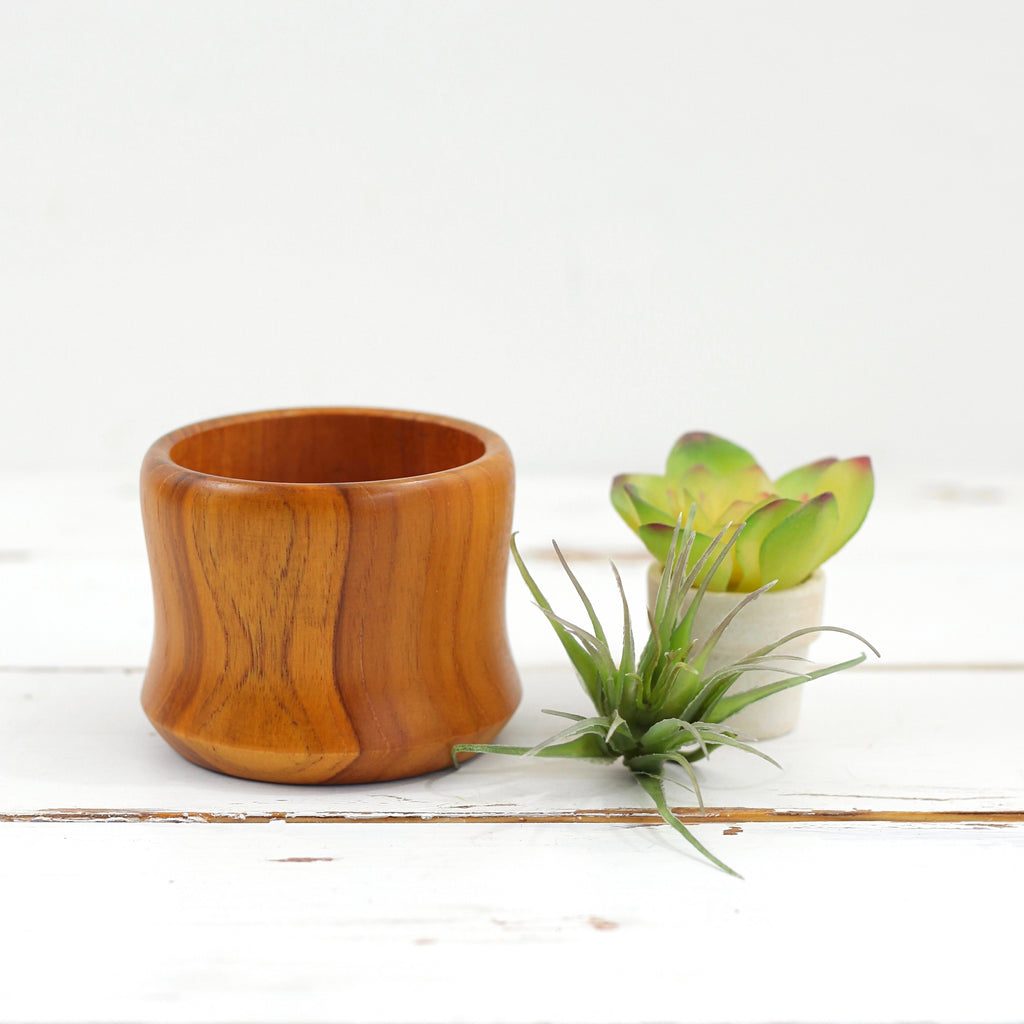 SOLD - Mid Century Modern Teak Wood Candle Holder