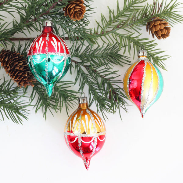 SOLD - Mid Century Mercury Glass Ornaments from Poland