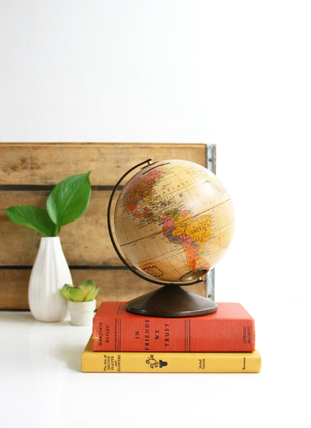 SOLD - Mid Century Metal Lithograph Globe Bank by Replogle / The Revere Vintage Globe
