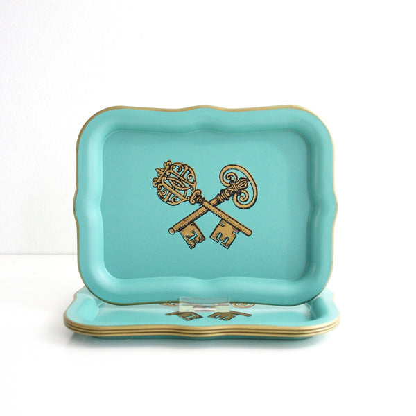 SOLD - Mid Century Modern Aqua and Gold Tin Litho Cocktail Trays
