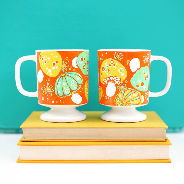 SOLD - Vintage Pair of Mushroom Mugs