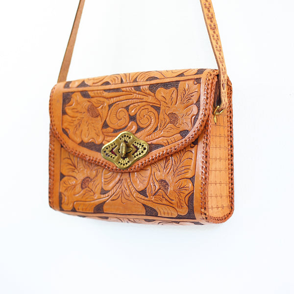 SOLD - Vintage Tooled Leather Crossbody Bag & Change Purse